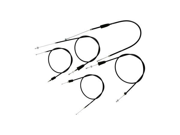 10069820 Set: 5 Bowdenzüge schwarz, Flachlenker - MZ TS 125, 150 - Bild 1