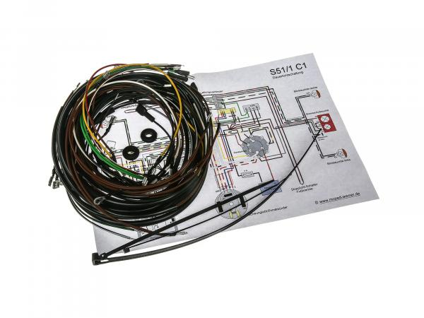 Wiring harness set S51/1 C1, 12V electronic ignition with wiring diagram