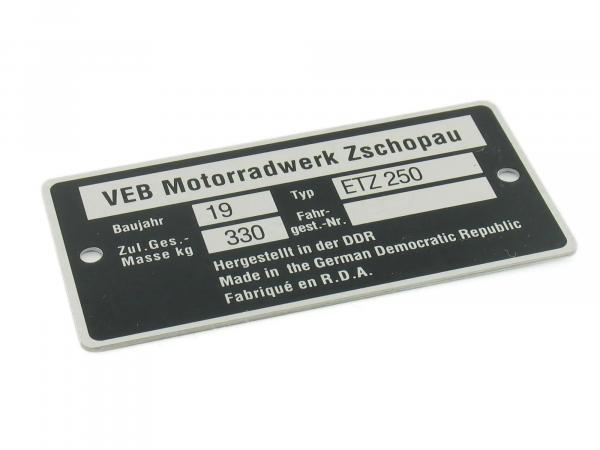 Nameplate ETZ250 narrow (aluminium)