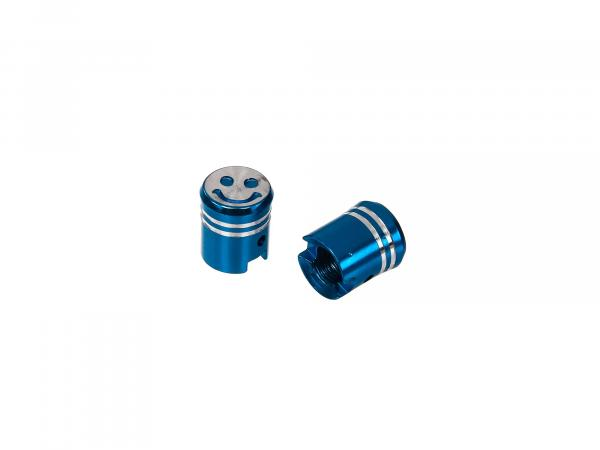 Set: 2x valve cap piston, blue anodized