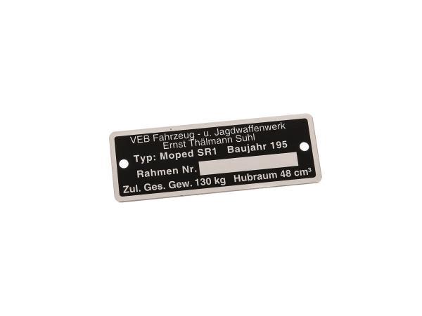 Typenschild SR1 (Rahmenplakette aus Aluminium)