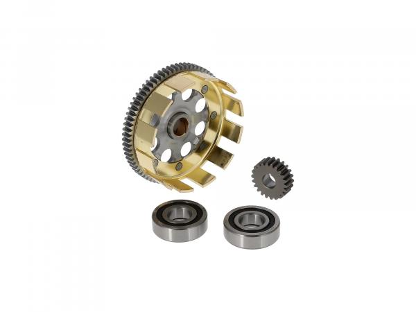 Set: Sport clutch basket + drive pinion + tuning roller bearing, straight tooth, 72/22 tooth - Simson S51, S53, SR50, KR51/2 Schwalbe