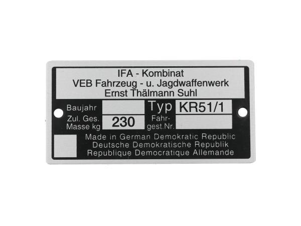 Typenschild KR51/1 Aluminiumplakette