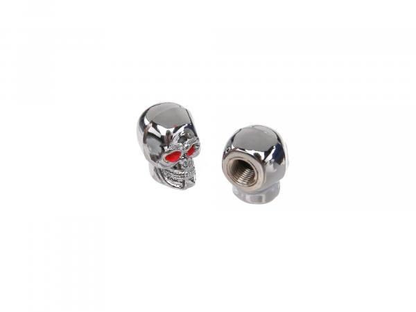 Set: 2x valve cap skull, chrome