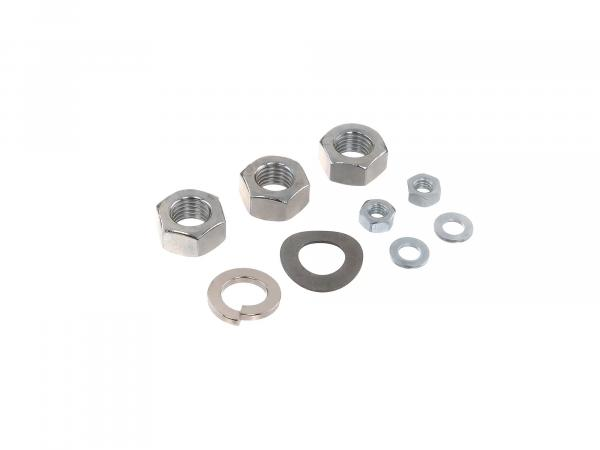 Set: Nuts, washers rear wheel drive (rear swing arm with support strut) for S50, S51, S70