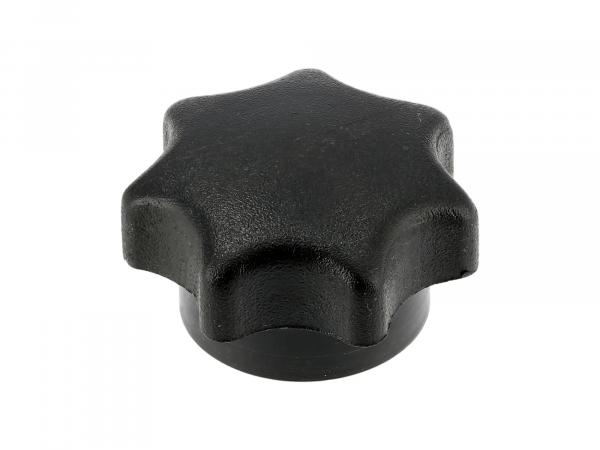 Star knob nut M6, black, long version, without thrust washer, suitable for ES, TS, SIMSON