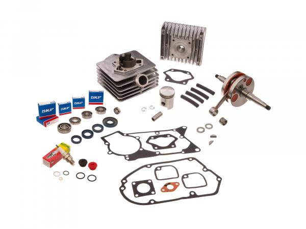 Set: 4 channel cylinder cpl. 50cm³ + gaskets + sport crankshaft - for Simson S51, SR50