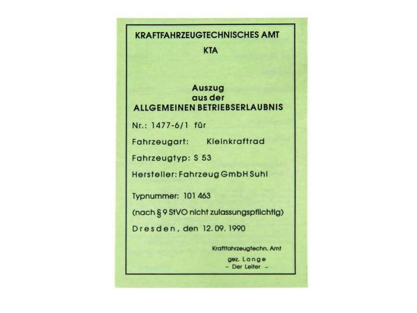 Blanco-Papiere (BTE - für Sammlerzwecke) Simson S53 (bis BJ 1992)
