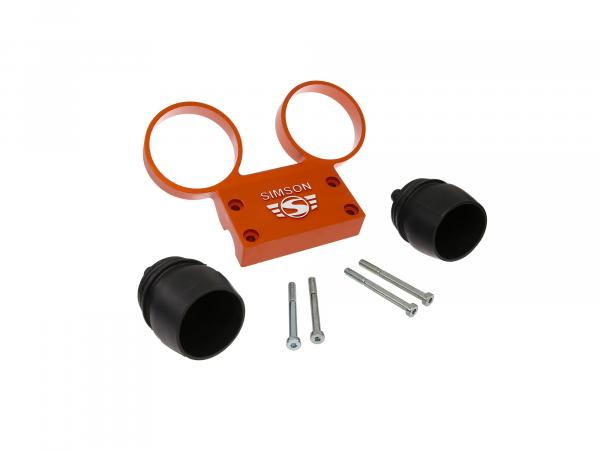 Set: Fitting holder and rubber covers for round instruments Ø60, aluminium orange