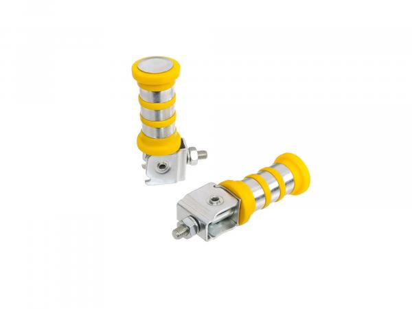 SET Passenger footrest left and right, zinc plated, yellow, 3 rings, ETZ