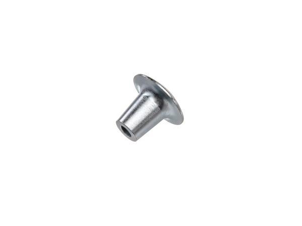 Knob KR50, pull-wire knob M6, blue zinc-plated (silver-gloss finish)