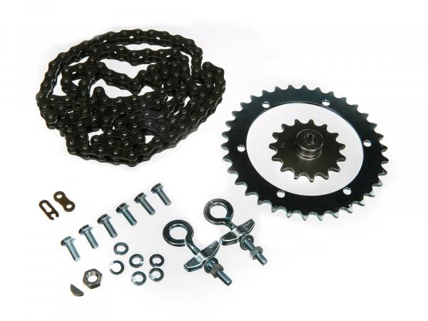 Set of drive parts SR2E (drive ring screwed, chain tensioner Ø12, chain, sprocket 15 T. etc.)