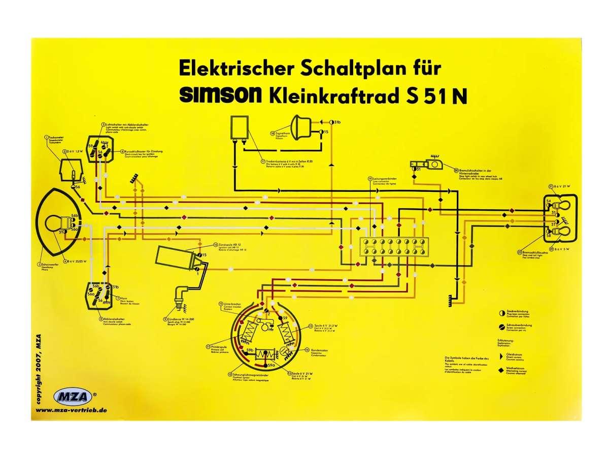 schema elettrico poster 69x49cm simson s51 n ebay. Black Bedroom Furniture Sets. Home Design Ideas