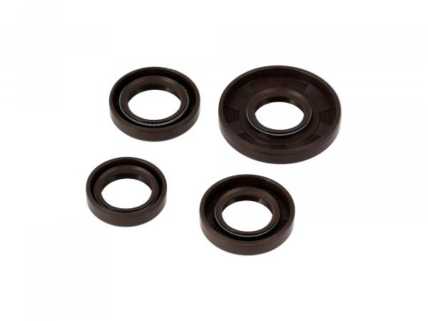 Set: Oil seals motor complete, brown, double lip - for Simson S51, S70, S53, S83, KR51/2 Schwalbe, SR50, SR80