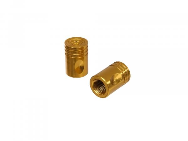 Set: 2x Ventilkappe Pin, Gold eloxiert