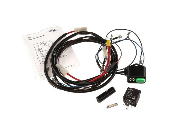 10067401 Set: Kabelbaum Elektrostarter - Anlasserkabel mit Taster, Starterknopf und 12V-Schaltrelais + Schaltplan - Simson SR50, SR80, SD50 - Bild 1