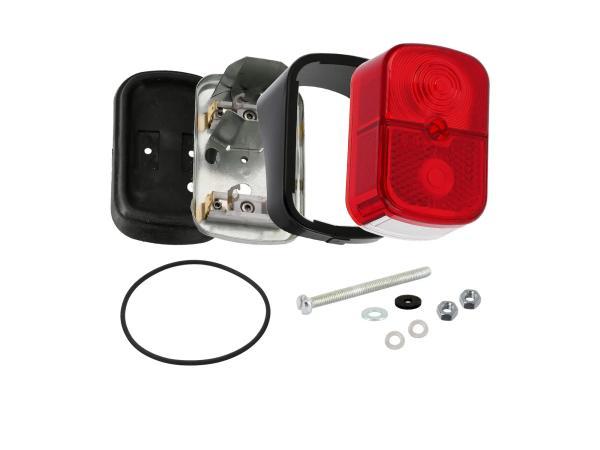 GP10000699 Rücklicht rot, eckig, mit Sockel schwarz + Befestigungsmaterial - für Simson SR4-1 Spatz, SR4-2 Star, SR4-3 Sperber, SR4-4 Habicht - Bild 1