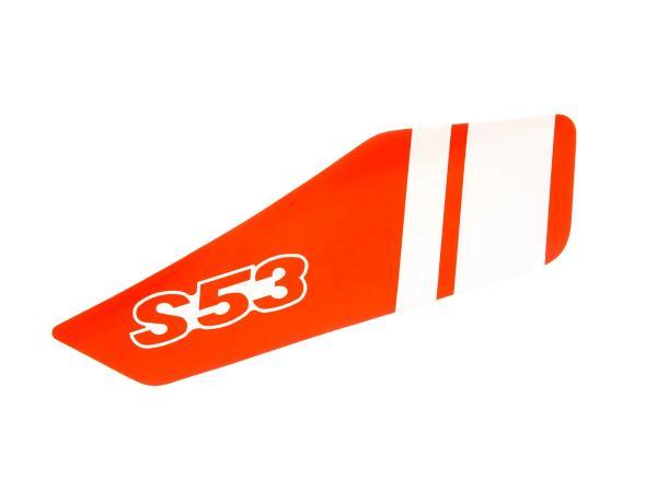 Klebefolie für Seitendeckel, rechts, Rot/Weiß - Simson S53
