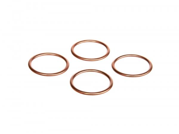 Set: 4 x elbow gasket 28 x 34 copper - Simson S50, S51, KR51 Schwalbe, SR50, etc.