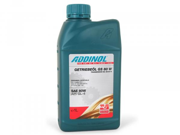 ADDINOL GS80W, gear oil for steering distributor and manual gearbox, mineral, 1 L can.