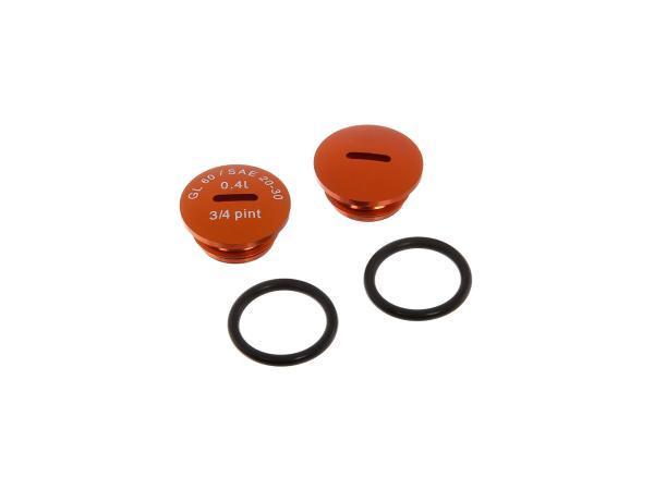 Set: 2x Verschlussschraube Getriebedeckel, Alu in Orange mit O-Ringen