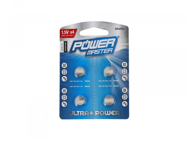 10069378 Set: 4x LR44 Power Master Alkali-Knopfzelle, 1,5Volt - Bild 1