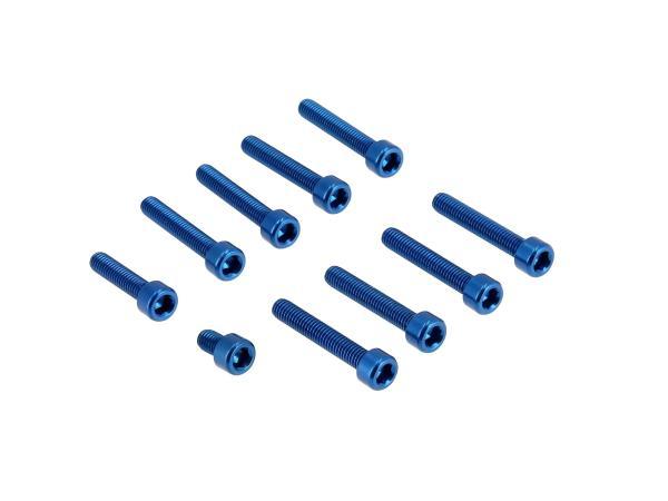 10070568 Set: Aluminium-Schrauben, Innensechskant in Blau für Kupplungs- und Lichtmaschinendeckel Motor S51 - Bild 1