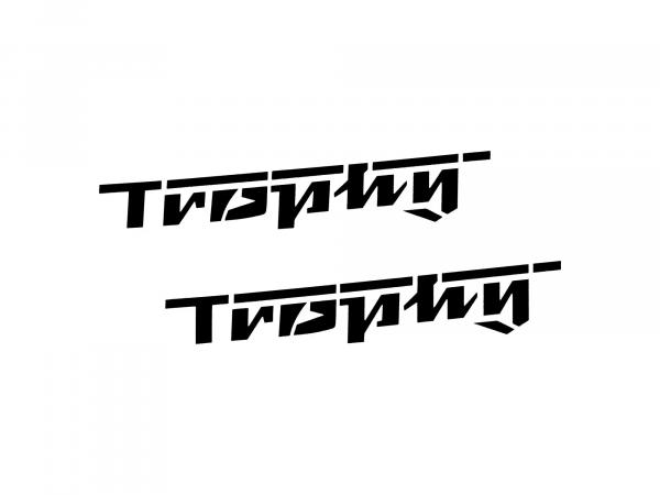 Schriftzug (Folie) Trophy Buchstaben in schwarz (Satz=2 Stück) (ca. 17,50cm lang)