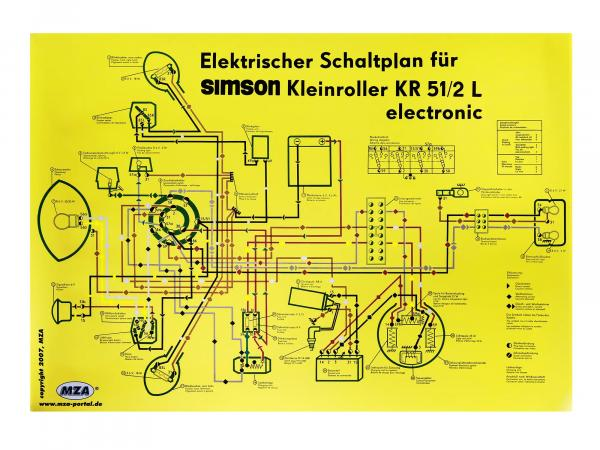 Circuit diagram colour poster (69x49cm) Schwalbe KR51/2L electronic (gloss cello on both sides, dirt-repellent)