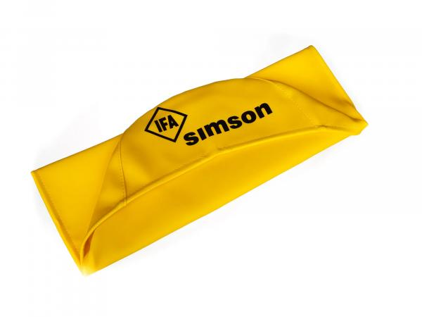 Seat cover smooth, yellow with SIMSON lettering - Simson S50, S51, S70, KR51/2 Schwalbe, SR4-3 Sperber, SR4-4 Habicht