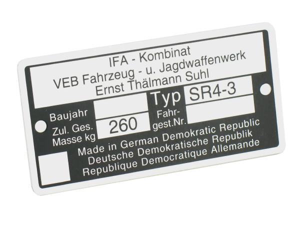 Typenschild SR4/3 Aluminiumplakette