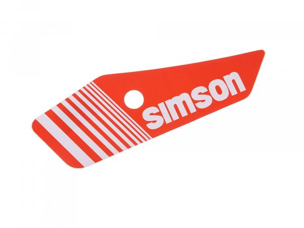 Adhesive foil for side cover, left, red/white - Simson S53, S83