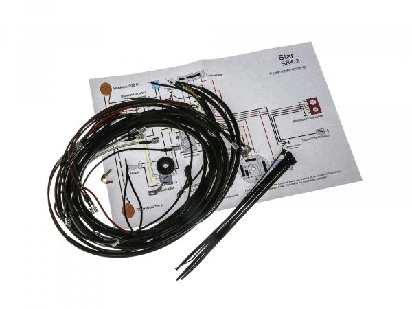 Cable harness set Sperber SR4-3, Habicht SR4-4, 6V interrupter ignition with wiring diagram