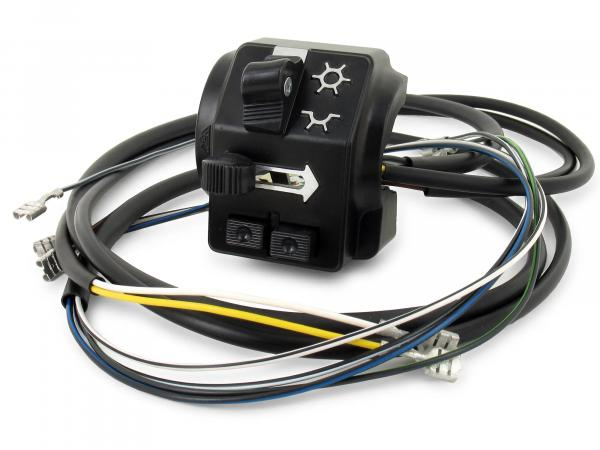 Switch combination 8626.19/3 with cable and headlight flasher, 6 + 12V, high control arm - Simson S51, S70 Enduro