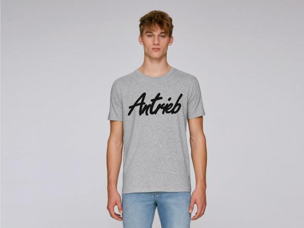 """10069074 Basic-Shirt """"Antrieb-Schriftzug"""" Grau/Schwarz - Gr.: S - Bild 1"""