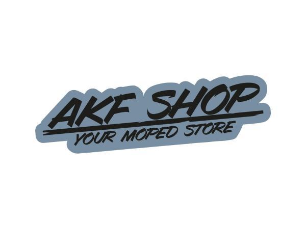 """10070121 Aufkleber - """"AKF Shop - your moped store"""" Grau/Schwarz, konturgeschnitten - Bild 1"""