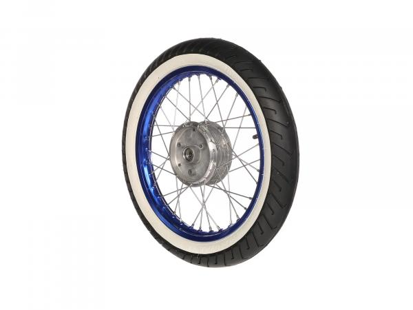 """10069410 Komplettrad hinten, 1,5x16"""" Alufelge blau + Edelstahlspeichen + Weißwandreifen Mitas MC2 - Bild 1"""