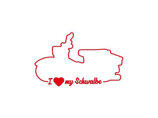 """10069157 Aufkleber - """"I LOVE MY SCHWALBE"""" Folienplot Rot, mit Übertragungsfolie - Bild 1"""
