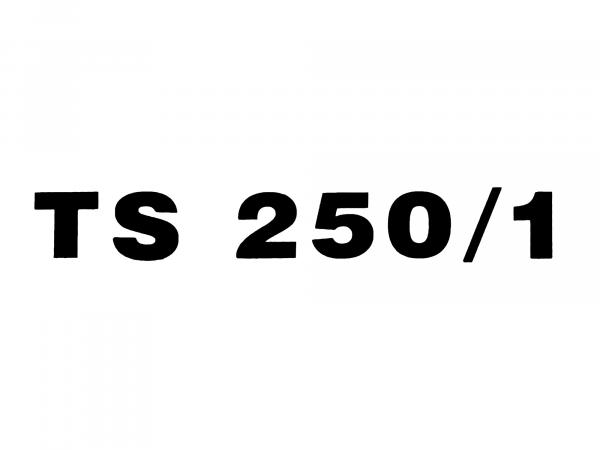 """Schriftzug (Folie) """"TS 250/1"""" schwarz für Seitendeckel - für MZ TS250/1"""