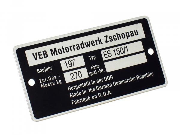 Nameplate ES150/1 narrow (aluminium)***