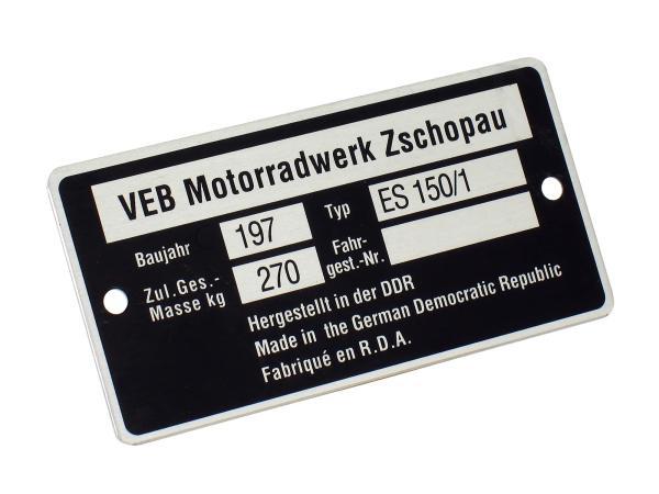 Typenschild ES150/1 schmal (Aluminium)***