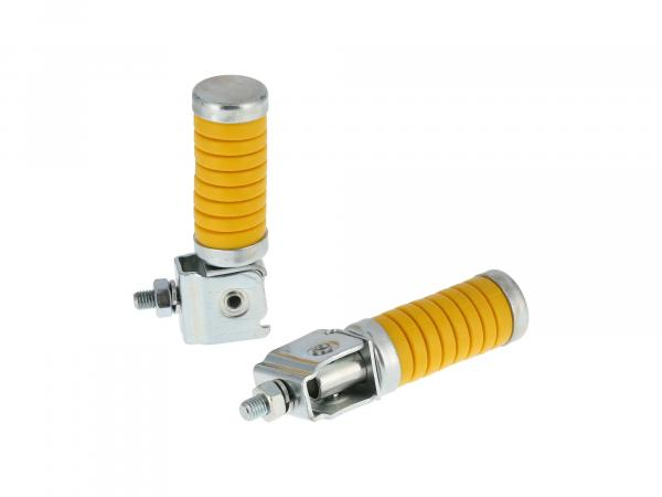 SET Passenger footrest left and right, zinc plated, yellow, with cap, ETZ