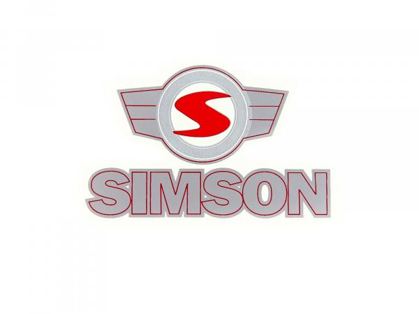 "Adhesive foil - ""SIMSON"" - lettering - and emblem in red/silver"