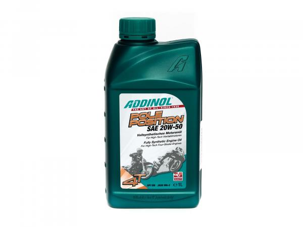 ADDINOL 4T pole position 20W-50, engine oil, fully synthetic, exceeds specification JASO MA-2, 1 liter can