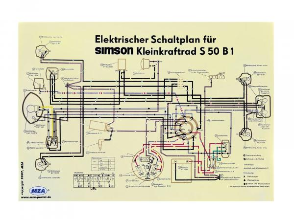 Circuit diagram color poster (69x49cm) Simson S50 B1