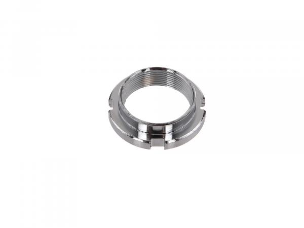 Counter nut steering bearing, chrome plated with 4 grooves - Simson SR1, SR2, KR50, KR51 Schwalbe, SR4-1 Spatz, SR4-2 Star, SR4-3 Sperber, SR4-4 Habicht