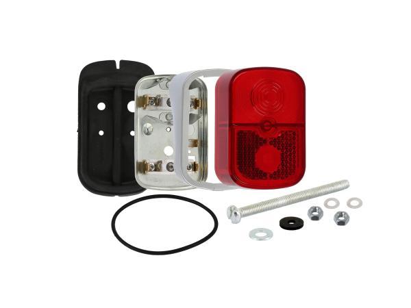 GP10000697 Rücklicht rot, eckig, mit Sockel silber + Befestigungsmaterial - für Simson KR51/1 Schwalbe - Bild 1