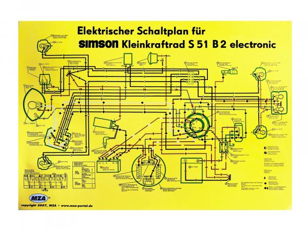 Circuit diagram color poster (69x49cm) Simson S51 B2