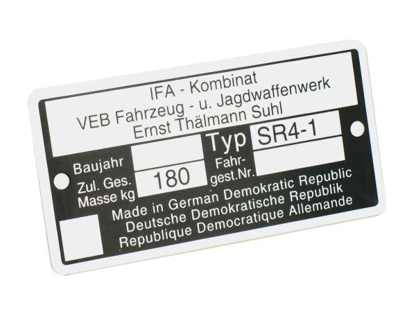 Typenschild SR4/1 Aluminiumplakette