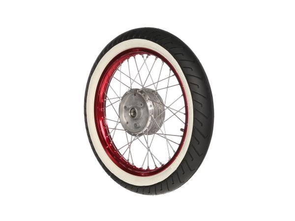 """10066194 Komplettrad hinten 1,5x16"""" Alufelge rot + Edelstahlspeichen + Weißwandreifen Mitas MC2 - Bild 1"""